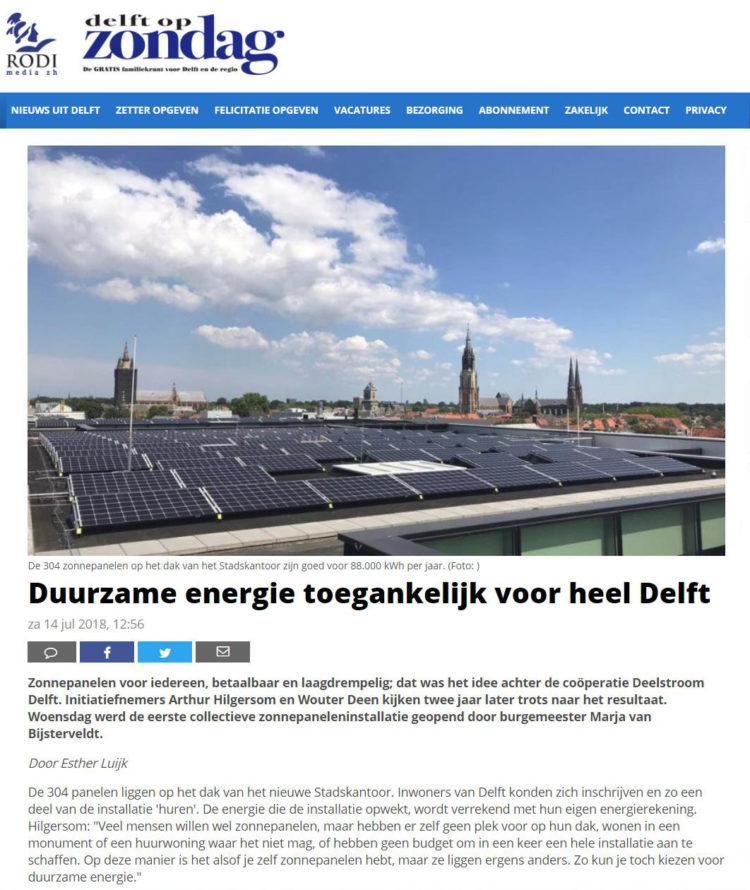Delft op Zondag over Deelstroom Delft